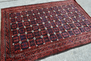 Baluch rug with Mina-Khani design. Woven circa 1900 in the Khorassan area of Northeast Persia. Soft silky wool pile. Great condition – 3'5 x 4'11 – 104 x 150 cm.