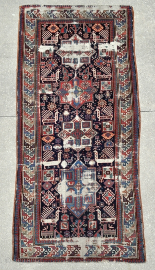 Caucasian Bird Akstafa rug - 4'2 x 8'10 - 127 x 269 cm. - offered as found at a reasonable price.