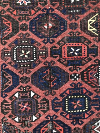 Baluch rug with Gurbaghe Guls, symmetrically knotted and with pile skirts - 2'10 x 4'8 - 84 x 142 cm. - Exhibiting at the upcoming ICOC Dealers Fair in Washington DC -  ...