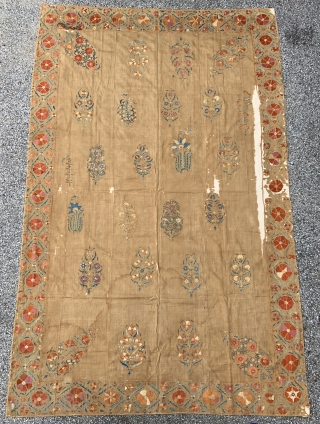 Antique Uzbek Suzani - 5'8 x 8'11 / 173 x 272 cm.  Suzani mounted on linen and supported by fabric backing.  Could only post a few pictures, let me know  ...
