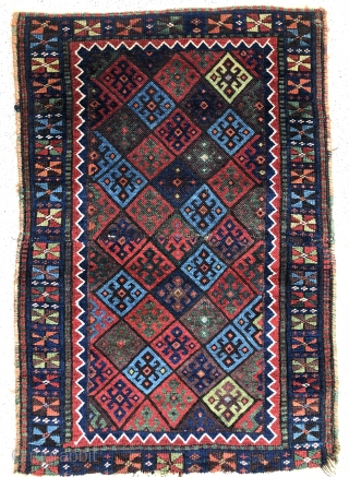 "Lovely Jaff bags with incredible colors and wool joined to make a small rug. 23"" x 34"" - 60 x 86 cm. - Offered as found!"