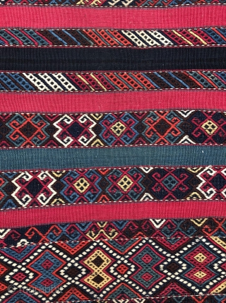 Antique Southeast Anatolian Kilim, Well preserved! Top quality silky smooth wool and well saturated natural colors - 5'1 x 10'5 - 155 x 318 cm.