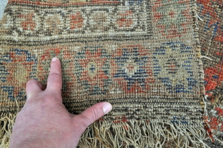 Northwest Persian rug, fragmented, clearly not for the condition buyer, missing borders on the sides and bottom, two patches from even older looking piece on the right side of the rug, remnants  ...