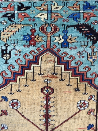 Antique Ladik Prayer rug - circa 1875 - 3'6 x 6'5 - 137 x 196 cm. No repairs!
