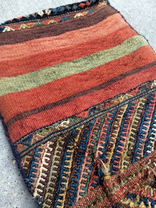 "Northwest Persian Kurdish Saddle bags, complete with beautiful kilim back, meaty silky pile, some old damages consistent with use  - 19"" x 44"" - 50 x 112 cm."