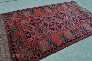 Spectacular Baluch rug, excellent wool quality, all natural dyes - beautifully saturated scarlet red, full pile, no repairs, tight weave, soft floppy handle - 2'9 x 5'3 - 84 x 160 cm.  ...