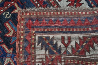 "Caucasian Kazak rug with Star designs, not a ""Star Kazak"" :) - 3'5 x 6'7 - 104 x 199 cm. - offered as found, mostly good pile, sound foundation, some old repairs,  ..."
