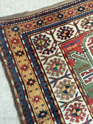 Funky Tribal South Caucasian Karabagh rug, thick meaty pile and great natural colors, just washed and sparkling! dated 1882? few old small repairs, original macrame ends and selvages, please let me know  ...