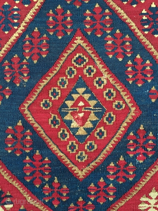 Southeast Anatolian small kilim from Malatya area. Has gold medal thread.  Good condition. About 3' x 5'.