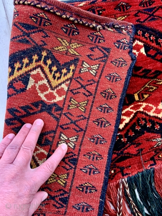 Lush Ersari Turkmen Trapping with corroded silk highlights, silky smooth wool, and full pile.