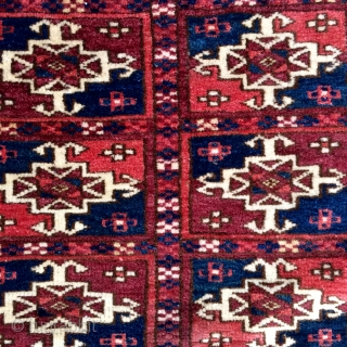 Fine small format Tekke Turkmen Wedding rug in great condition, beautiful colors including a pale yellow and first row of Guls has some insect dyed silk highlights. Circa 1870 - 3'1 x  ...