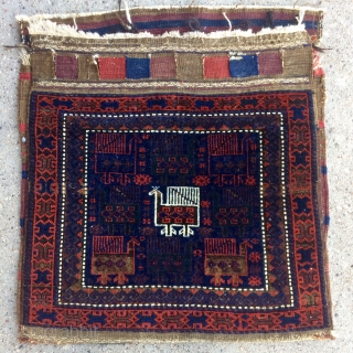 """Timuri Bird Baluch Bag complete with kilim back - 24"""" x 24"""" - 61 x 61 cm and about 24"""" x 51"""" - 61 x 129 cm with kilim. no repairs, Great  ..."""