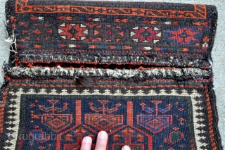 "Extraordinary Timuri Baluch bag/chanteh - incredible wool, superior colors, tight weave, a real Gem. - 15"" x 26"" - 38 x 66 cm. - hard to translate the quality with pictures. 