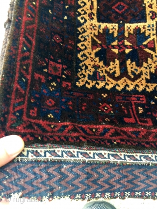 "Super Fine Baluch Balisht with Silky smooth pile complete with kilim back and in Great condition! 22"" x 42"" - 56 x 106 cm."