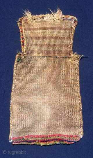 """Kurdish (Jaff) salt bag, 13                                     Kurdish (Jaff) salt bag, 13 X 25"""".  Sumak face, piled bottom, flat woven back.  Good glowing natural dyes with good greens in sumak and pile.                  x  ..."""