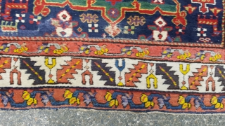 A lovely antique karaja fragment rug. Made out of a longer rug one end has been rewoven. Great colours including an early aubergine. The rug in mostly in pile and ends and  ...