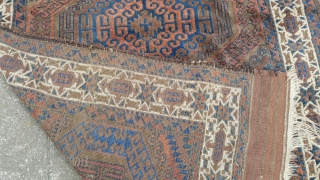 A Fine Antique Beluch rug. Just found , needs a clean. In pile and original condiiton, some selvage loss on the right side some minor moth holes to kilim at one end  ...