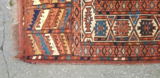 A fine antique Yomut carpet.280x183. Good original conditon. Selvage is missing .  All good colours fine weave. Please ask if you.need additional info.