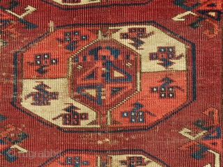 "An early, Kizil Ayak main carpet fragment about 6'4"" x 4'4"" with asymmetric open right knotting, good color, early and stylized Dyrnak minor guls, Major guls with the ""Mounted Knight"" image that  ..."