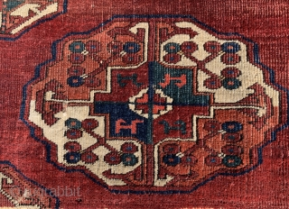 """Early Turkmen S Group main carpet fragment 20"""" x 36"""" with precise drawing, layout,  depressed warps, asymmetric knotting open LEFT. and great & early saturated colors. This piece was formerly in the  ..."""