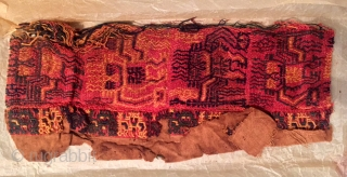 TWO PARACAS NEEDLEWORK FRAGMENTS FROM MANTLE. PERU 100 B.C.to 100 A.D. 