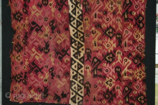 """CHANCAY Pre Columbian weaving made with camelid fiber using traditional, vegetal pigments from what is now  Perù. South America. Circa 1000 - 1460 AD. Good condition with some stains and holes. 16.75""""  ..."""