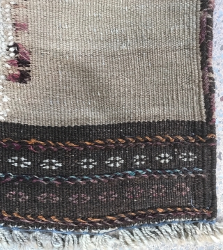 Very nice Afghan Baluch Kilim with an architectural Prayer form ( no doupt that old monuments have inspired nomads ) Nice colors except one stupid old repair on !
