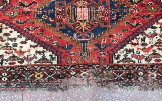 Charming and Small size Khamseh Rug, very fine quality in condition as in photos . Good dyes , nice colors and organic Chickens :-)  Size : 145x107cm , Please don't ask  ...