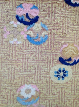 September Sale : A Chinese Rug ( Ningxia ! ) Unusual design and good wool . Condition as you see in photos ! The Red is not good i think but still a  ...