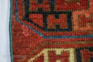 TURKOMAN BAG FACE / TRAPPING.  LIKELY ERSARI, BUT HAS AN UZBEK FEEL.  GOOD WOOL AND THE COLORS ALL APPEAR TO BE GOOD, E.G. NATURAL DYES.  ALMOST CERTAINLY 19TH CENTURY.  ...