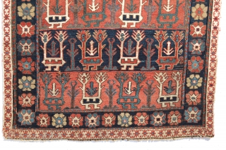"""Khamseh Shahsavan """"two headed animal"""" sumak saddle bag face. 3rd quarter of the 19th century. 22'' x 23'' inches.  A very similar piece was published in John Wertime's book """"Sumak Bags  ..."""