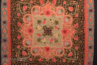 An incredible late 19th century Rasht embroidery. North Persia, 36'' x 36''