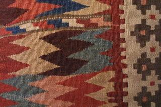 # 2391 Bijar Kilim with Moj design, west Persia, late 19th Century, beautiful natural colors. Size 4-5 x 8-8 ft