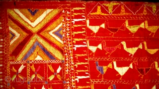 Antique Rare phulkari with Rare design from punjab, india. Hen figures.
