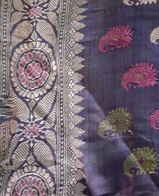 Antique Indian textile from Bengal,Balucha saree, 168x44inch
