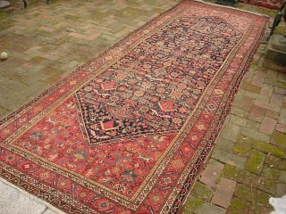 Malayer 4 ft 5 x 13 ft 6 inches. Obviously rare and unusual size. possibly 19th century. Pretty nice condition. Low but no foundation showing. Note red abrash. $40 UPS to Lower 48.