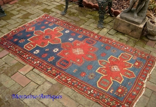 Kazak-- 3.4 x 6 ft 1 in. Interesting and decorative 19th cent. Obvious condition issues. Please call for condition Report. $20 UPS to lower 48. Check out  fresh posts on our  ...