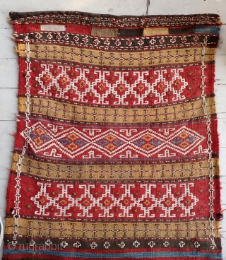 Uzbek Bag -- Full panel is  24 x 55 inches-- c. 1900 if not older. I was advised regarding origin. I know as much about Uzbekistan as Herman Cain.  Its  ...