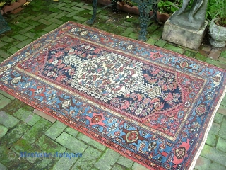 Hamadan. 4 ft 3 x 6 ft 5. West Persian Village rug with white anchor medallion and turtle border. We just posted a whole slug of fresh stuff. Check it out @  ...