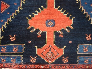 Malayer-- 4 ft 5 x 7 ft 2. Sarouk weave with ferocious open field design. We just posted a whole slug of fresh stuff. Check it out @ http://www.montaine-antiques.com/oriental-rugs/