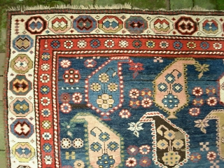 Boteah Kazak 4 ft 9 in x 8 ft 1 in. Beautiful ancient thing in as-found condition. $20 UPS to Lower 48.  Check out recent finds @ http://www.montaine-antiques.com/oriental-rugs/