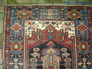 Bahktiari 4 ft 1 in x 5 ft 8 in. Beautiful old thing with knockout colors.  $20 UPS to Lower 48.  Check out recent finds @ http://www.montaine-antiques.com/oriental-rugs/