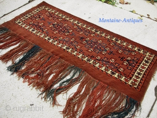 Yomud 17 x 41 inches. Honest early in piece in fine condition. $20 UPS to Lower 48.  Check out recent finds @ http://www.montaine-antiques.com/oriental-rugs/