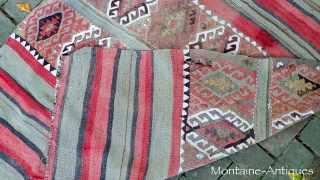 Anatolian Kelim-- 4.3 x 5 ft-- Interesting and old tribal thing. Note red stain and generally rough condition. $15 Fedex to anywhere in the US