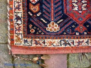 Southwest-- 15 x 20 inches. Interesting details. Please call for condition Report. Check out abundant fresh posts on our web site: http://www.montaine-antiques.com/oriental-rugs/