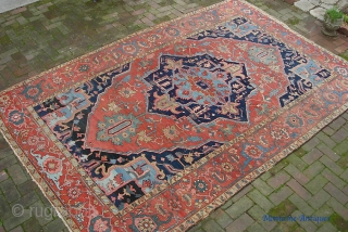 Old Heriz/Serapi 7 ft 3 X 11 ft 4 in. Real decorative thing with great colors and very uncluttered design. Unusual to find such wide borders on a smallish carpet. Well used--  ...