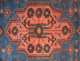 Hamadan Runner-- 3 ft 6 in x 9 ft 9 in. Perhap Kolyai   with all these Kurdish motifs. Very pretty with soft blue, salmon and rust.  Condition is good--  ...