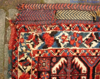 Basseri. 24 x 16 inches. Top shelf example of a highly sought Khamseh design. Sensational wool quality. Tiny fine knotting. Look carefully-- moth damage upper left corner. Aside from that condition is  ...