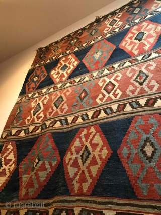 6'x12' antique Caucasian Kilim in good condition. Thanks
