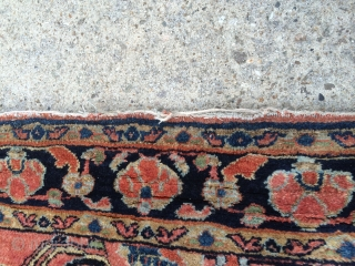 """As found: A very early 20th century very finely woven Persian Sarouk with the paint almost worn off measuring 4'4""""x 6'6"""", one side has 39"""" of binding wear encroaching into pile at  ..."""